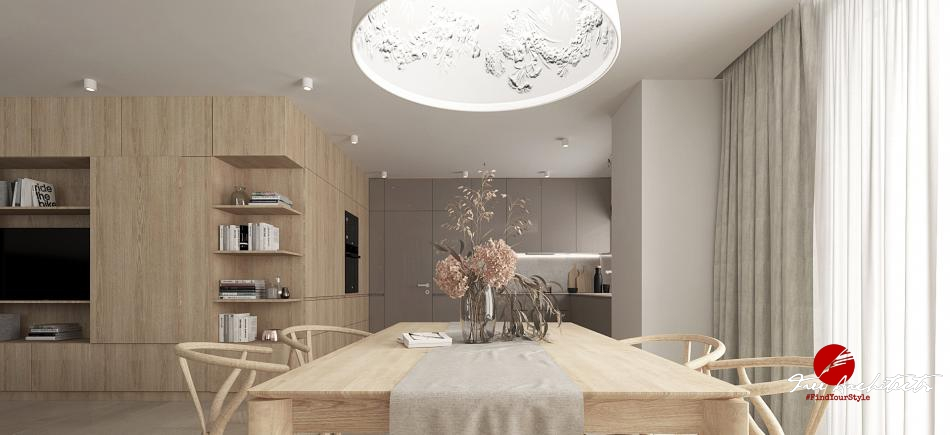 Private interior kitchen and dining room design Prague 2019