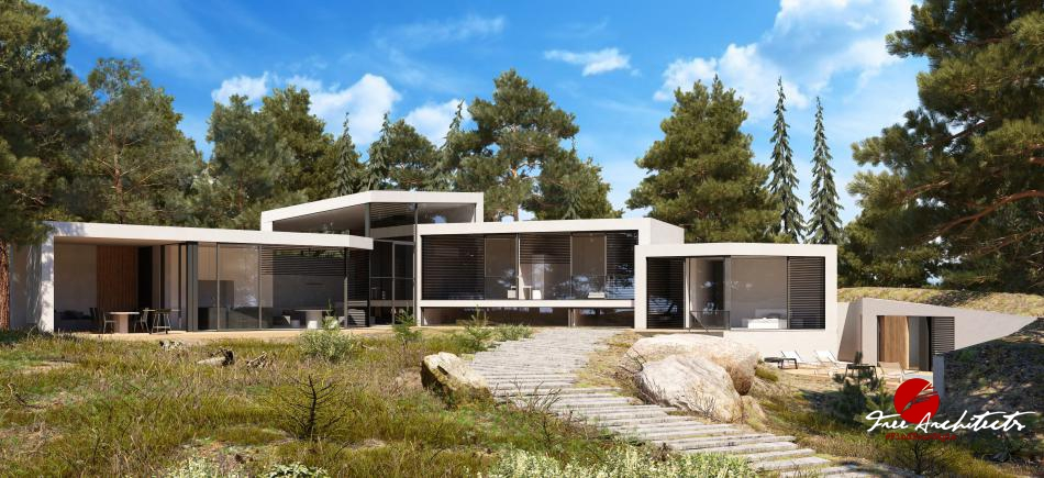 Vila Cascade private villa design at Pruhonice Prague 2020-2021